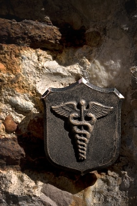 The hospital corpsman emblem. Corpsmen are the Navy and Marine Corps' enlisted medical specialists. Battlefield corpsmen are largely responsible for the decreased number of casualties dying from combat wounds in the Long War, a ratio lower than that of recent 20th-century wars, including Operation Desert Storm.