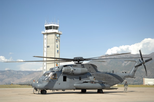 The MH-53M Pave Low Helicopter, tail number 68-10367, arrived here from Hurlburt Field, Fla., Sept. 18 to be moved to the Hill Aerospace Museum for display. Hill Air Force Base was the first base the helicopter was ever assigned to. (U.S. Air Force Photo by Todd Cromar)