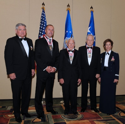 "(From left to right) Ret. Gen. Ronald Fogleman, former Air Force chief of staff, Mike Hendry, Hal ""Doc"" Marsell, Jack Price and Maj. Gen. Kathleen Close, Ogden Air Logistics Center commander. (U.S. Air Force Photo by Alex R. Lloyd)"