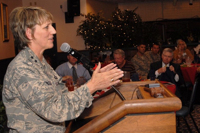 Maj. Gen. K. C. McClain, Air Force Personnel Center commander, Randolph Air Force Base, Texas, presents a speech at the LRAFB Community Council Meeting during the Air Force Birthday on September 18, 2008. (U. S. Air Force photo by Airman 1st Class Jim Araos)