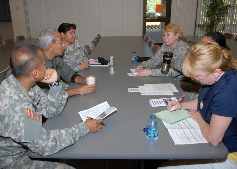 Col Jane Helton, NGB facilitates the dialog between Lt Col Oyafuso, HIANG, Maj Barbera Tucker, HIARNG, soldiers from the HIARNG and Bette Stebbins, from the Sexual Assault Prevention Response (SAPR) Office, Policy Assistance Team.  They discuss the effectiveness of policies and programs addressing the crime of sexual assault in the military that have been implemented in the Hawaii National Guard.