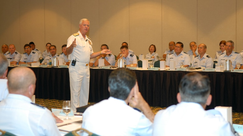 Adm. Timothy J. Keating, PACOM commander, speaks about shaping the battlefield and the importance of developing and maintaining positive relationships with nations in the Pacific, like China and North Korea.  Adm. Keating was a guest speaker at the 31st annual HIANG Commanders Conference held in Lihue, Kauai