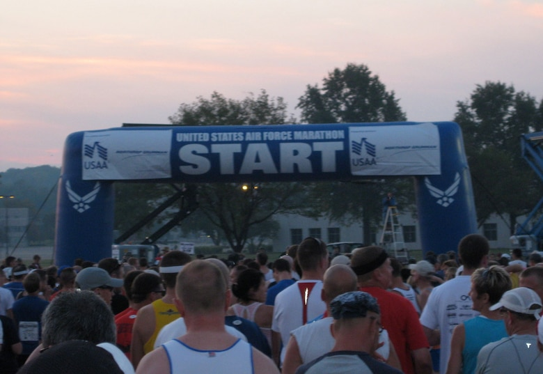 Runners line up at the start for the 12th Annual Air Force Marathon held at Wright-Patterson AFB, Sept. 20.