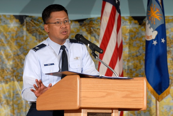 U.S. AIR FORCE ACADEMY, Colo. - Col. H.B. Brual addresses the audience during the Pike's Peak Regional kickoff of the Combined Federal Campaign in the Arnold Hall Ballroom here Sept. 30. More than 150 charities were on hand at the event to provide information to contributors in attendance. Colonel Brual is the vice commander of the 50th Space Wing, Schriever AFB, Colo. (U.S. Air Force photo/Mike Kaplan)