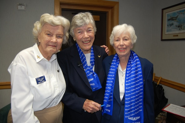 Doris Tanner, Dawn Seymour and Mary-Helen Chapman-Foster visited Squadron Officer College on March 26 to address Squadron Officer School class 09C. The ladies served as Women Airforce Service Pilots, or WASPs, during World War II and recounted numerous stories about their experiences as the first women military aircraft pilots. (Air Force photo by Carl Bergquist)