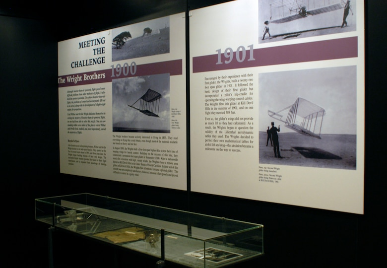 DAYTON, Ohio -- Wright brothers exhibit in the Early Years Gallery at the National Museum of the United States Air Force. On display are wind tunnel scales, charts and other tools used by the Wrights during their flying experiments. (U.S. Air Force photo)