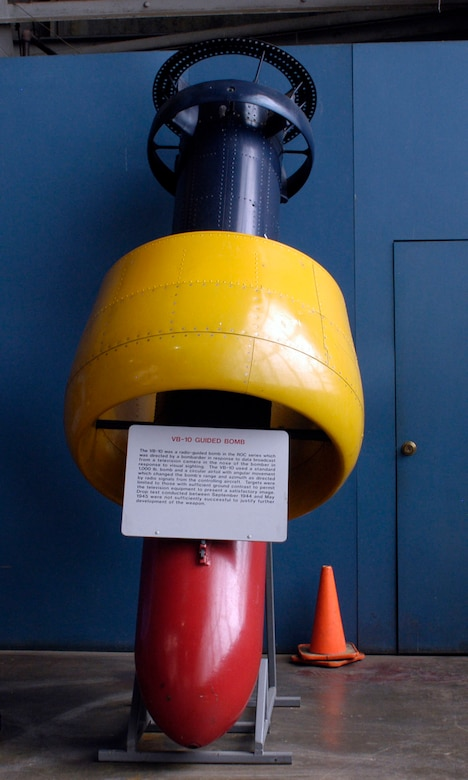 DAYTON, Ohio - The VB-10 Guided Bomb on display in the Research & Development Gallery at the National Museum of the U.S. Air Force. (U.S. Air Force photo)