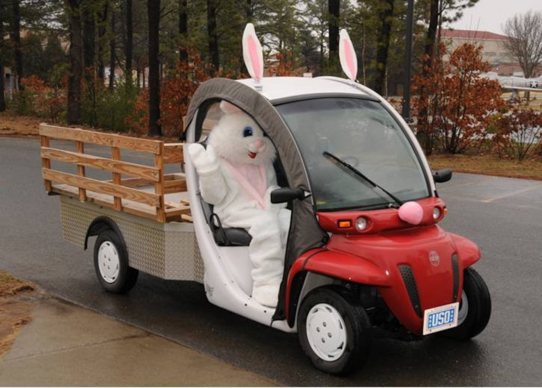 The Easter Bunny in the egg mobile.