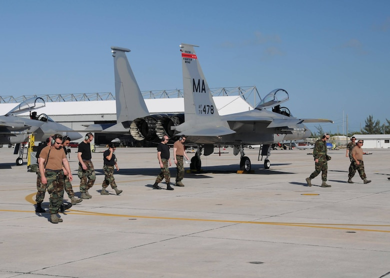 Members conduct a FOD walk while at NAS Key West.