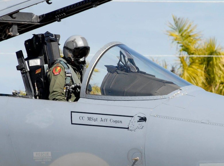 Maj. James Spooner of the Det. 1, 125th Fighter Wing, in an F-15 Eagle at Homestead Air Reserve Base, Fla., Feb. 5 2009.
