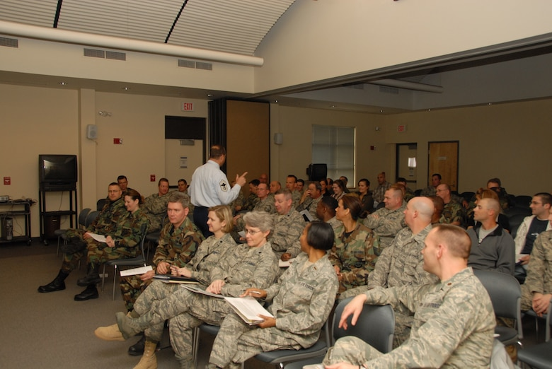 Chief Master Sgt. Charles Fernandez, New York Air National Guard Human Resource Advisor fields questions during a diversity presentation at Hancock Field Air National Guard Base, Syracuse, NY.