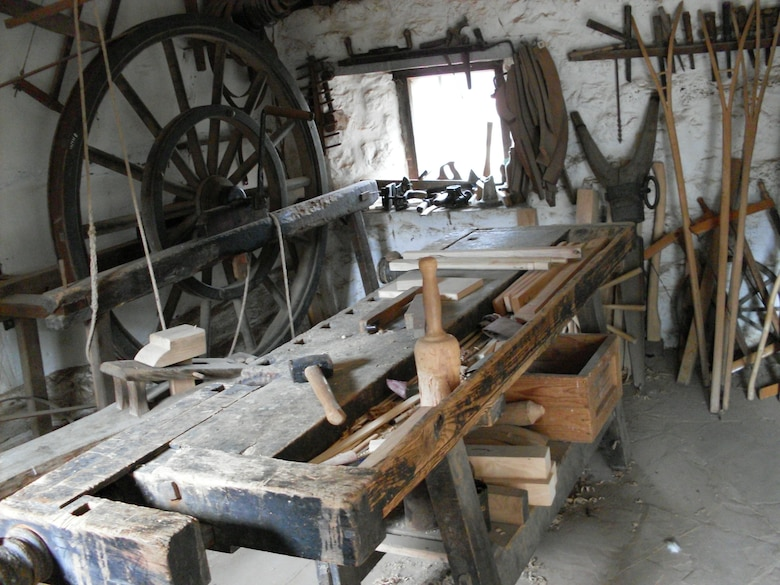KOMMERN, Germany -- The Rheinnischen Freilichtmuseum features about 65 historic buildings from around the Rheinland that were moved to the 200 acre park. Museum employees dress  in period costumes display skills in trades such as baking, blacksmithing, farming and broom making. Admission for adults is 5.50 euro. Discounts are offered for families, children and groups. (Photo by Frank L. Johnson)