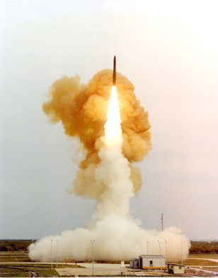 Minuteman III test launch from Vandenberg AFB, Calif. These launches deliver unarmed warheads to the Kwajalein Atoll, 4,000 miles away in the Pacific Ocean. (U.S. Air Force photo)