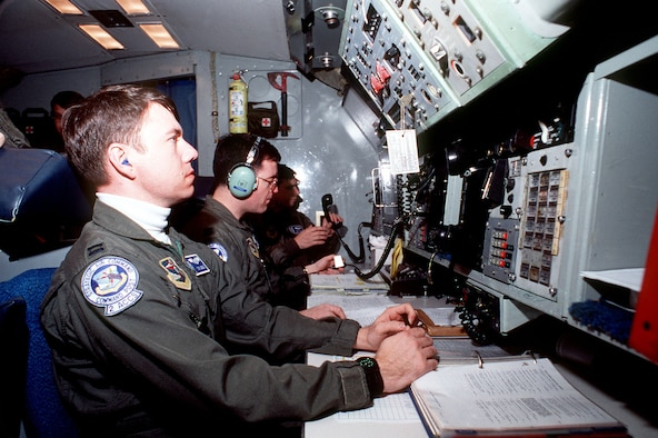 "Minuteman III missiles can be launched from an airborne command post if ground command centers are disabled. Here, a ""Looking Glass"" airborne command post crew prepares a test launch in 1991. (U.S. Air Force photo)"