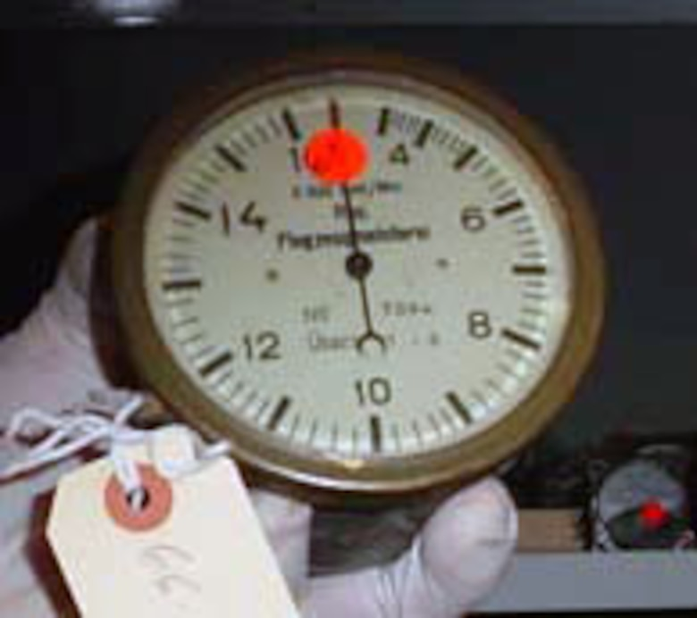 This tachometer is part of the museum's Eddie Rickenbacker collection. (U.S. Air Force photo)