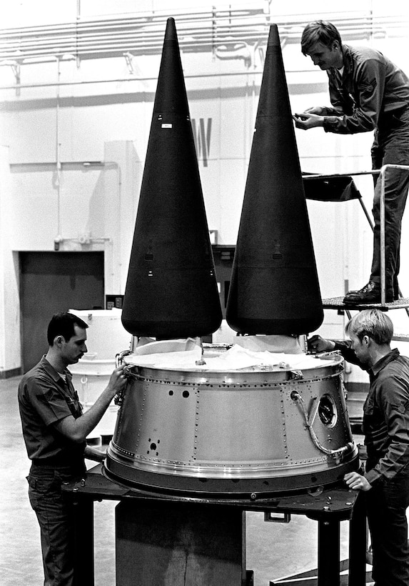Airmen work on a Minuteman III's Multiple Independently-targetable Re-entry Vehicle (MIRV) system. Current missiles carry a single warhead. (U.S. Air Force photo)