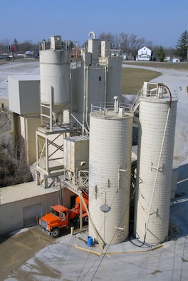 """A concrete plant in Mansfield, Ohio is providing recycled concrete materials being used for the 179th Airlift Wing's """"Green Project"""" renovation in Mansfield, Ohio. It is the first ANG unit to require the mandatory use of recycled content material for the renovation of a building. (Photo by Airman First Class Joseph D. Harwood, Ohio National Guard)"""