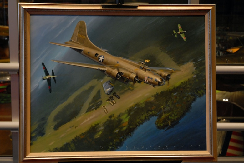 """DAYTON, Ohio - A close up of """"The Old Man's Ordeal"""" by Jack Fellows. Jeanne Greenlee donated this photo to the National Museum of the U.S. AIr Force after the artist indicated it was her father's wish it go to a museum. Greenlee's father was the bombardier in the B-17 pictured and assisted the artist in details of the scene. (U.S. Air Force photo)"""