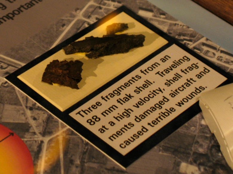 DAYTON, Ohio - Three fragments from an 88mm flak shell on display in the World War II Gallery at the National Museum of the U.S. Air Force. (U.S. Air Force photo)