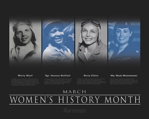 Women's History Poster.  This poster was created by Virginia Reyes of the Defense Media Activity-San Antonio.  Air Force Link does not provide printed posters but a PDF file of this poster is available for local printing up to 20x16 inches. Requests can be made to afgraphics@dma.mil. Please specify the title and number.