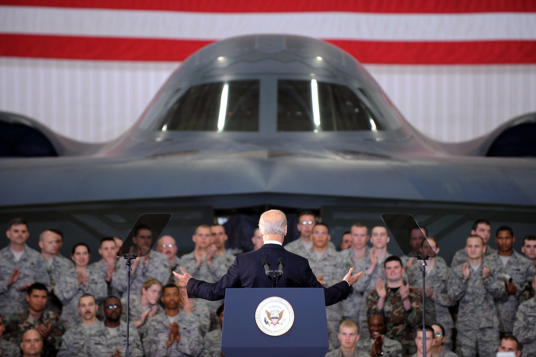WHITEMAN AIR FORCE BASE, Mo. - Vice President Joe Biden speaks to the troops at Whiteman April 16. Mr. Biden visited Whiteman to show administration support for the troops. Mr. Biden later visited Jefferson City and the University of Missouri-St. Louis to highlight progress of the Recovery Act. (U.S. Air Force photo/ Senior Airman Jason Huddleston)