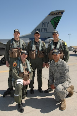 "The 174th Fighter Wing, Syracuse NY, F-16C Fighting Falcon on their return from performing the fly-by for the 2009 ""New"" Yankee Stadium Opening Day Ceremonies. 