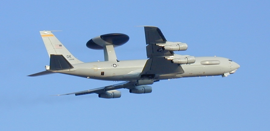 An E-3 Sentry flew through the skies over Nevada during the first three-week-long Red Flag Exercise February 23 through March 13. Official Air Force photo.