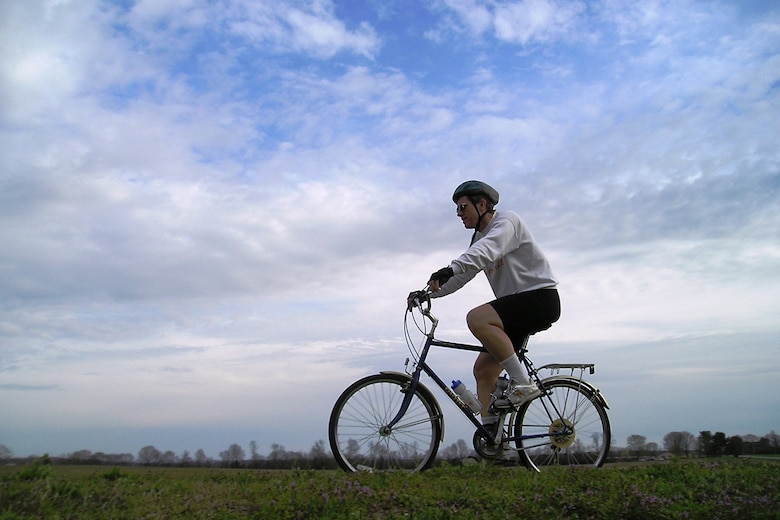 """Dr. Wim Ruyten, a physicist with Euclidean Optics Inc., at Arnold Engineering Development Center, trains on his bicycle for the """"Itching for a Cure: Road to Chicago"""" fundraising challenge, organized by the PSC Partners Seeking a Cure foundation. Dr. Ruyten plans to ride his bicycle from Tullahoma to Chicago, the site of the fifth annual PSC Conference during the week and a half prior to the conference (April 23 – May 1) to draw attention to the disease. (Photo provided)"""