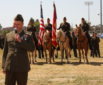 Major Gen. Michael R. Lehnert, commanding officer, Marine Corps Installations West, speaks at MCIWEST's sergeant major appointment and releif ceremony April 16. Sergeant Maj. Jeffery H. Dixon, assumed the former Sgt. Maj. Barbara J. Titus' position as MCIWEST's sergeant major.