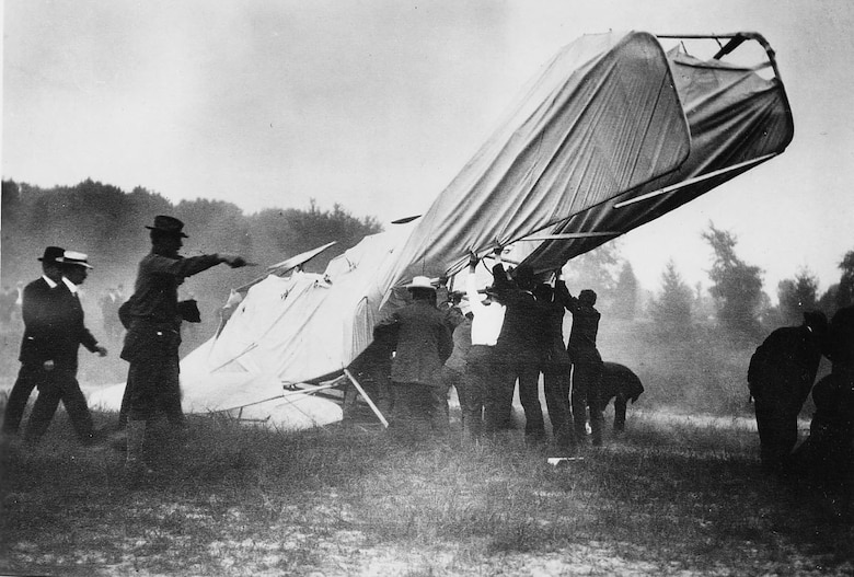 Tragedy struck during a flight on Sept. 17, 1908, when the right propeller on the 1908 Flyer fouled a guy wire, causing the plane to crash to earth. Orville Wright was seriously injured, while Lt. Thomas E. Selfridge, along on the flight as a passenger, was fatally injured, thus becoming the first person to die as the result of an airplane accident. (U.S. Air Force photo)