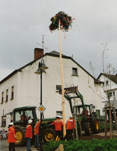 FLIESSEM, Germany --- Local fire fighters set up a May tree in the community of Fliessem, near Bitburg, a day prior to  German Labor Day, which is May 1. The youngsters will guard it around the clock to make sure neighbouring villagers don't steal it. Traditionally, the May tree is a symbol of freedom. (Photo by Iris Reiff)