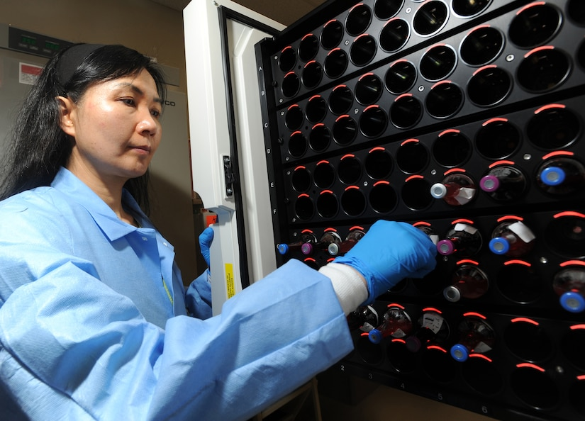 ELMENDORF AIR FORCE BASE, Alaska-- Stellar Diamond of 3 Medical Support Squadron checks the blood culture incubator on April 15, 2009. This incubator is used to test for bacteria in blood. (U.S. Air Force photo by Airman First Class Kristin High)