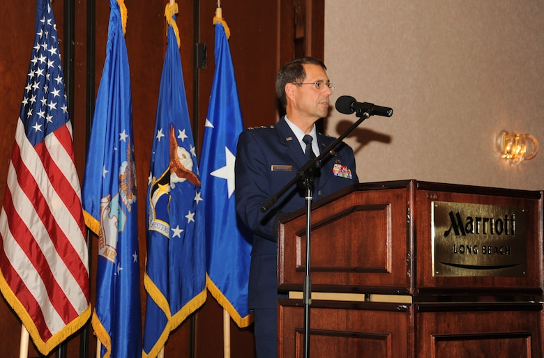 Space and Missile Systems Center Commander Lt. Gen. Tom Sheridan spoke at the annual SMC Industry Days held at the Long Beach Marriott, April 15 and 16. Industry Days offered industry reps a chance to learn more about current and future SMC programs. Representatives from more than 50 companies attended. (Photo by Joe Juarez)
