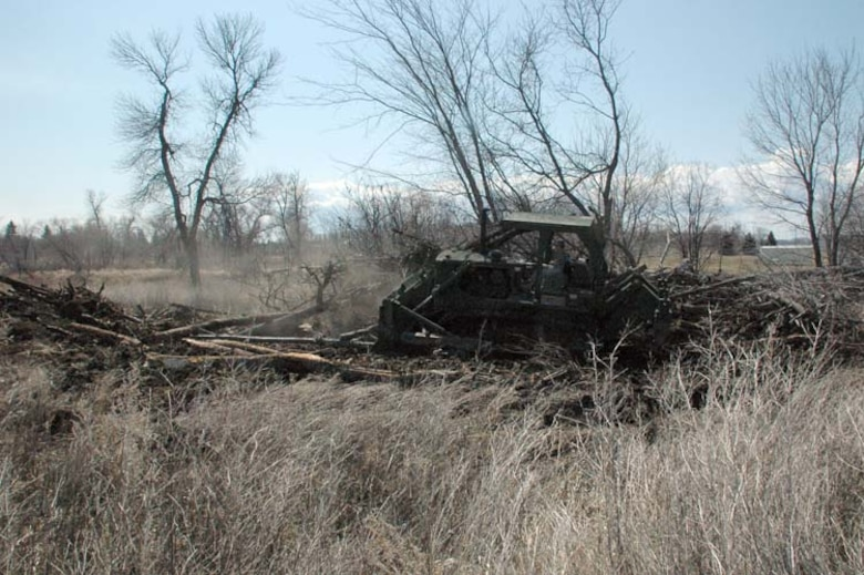 Sgt. Tobias J. Mathern, a Soldier with the 815th Engineer Company, clears a pile of trees on the north dike in Neche, N.D. The 815th has been assisting a civilian contractor since April 17 to raise the city's levee.