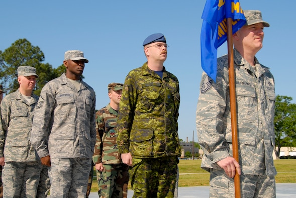 It's not hard to spot Warrant Officer Jay McLaren in his uniform among his American classmates. Today, Warrant Officer McLaren became the first Canadian to graduate from the U.S. Air Force First Sergeants Academy at Gunter. (U.S. Air Force photo by Jamie Pitcher)