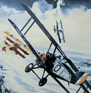"""A painting by Merv Corning called """"The Killer Camel,"""" which hangs in a hallway in 28th Bomb Wing Headquarters here. This painting, according to some experts, is historically inaccurate as it shows Capt. Roy Brown of Canada attacking the Red Baron while the famous Fokker triplane is in a banking manuever.  Dr. Geoffrey Miller, M.D., said that if such a maneuver actually happened, it was probably a reflex action on the Baron's part after a bullet struck him from the ground. Had the fatal shots originated from Captain Brown's machine, the Baron, Doctor Miller said, would not have been able to pursue what would've been his 81st victory for a full minute before he crashed.  (Air Force photo/Tech. Sgt. Steven Wilson)"""