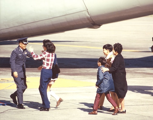 USAF Lt. Col. James Nagahiro, ex-POW, returns to his family. (U.S. Air Force photo)