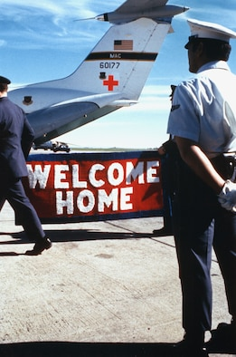 This C-141A, serial number 66-177, was the first to carry POWs home from Hanoi. The aircraft came to the National Museum of the U.S. Air Force in May 2006. The red cross was applied for OPERATION HOMECOMING to denote a peaceful mission. (U.S. Air Force photo)