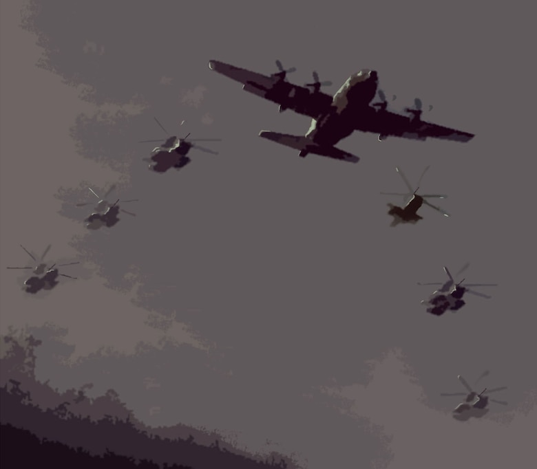 Illustration of MC-130E and 6 helicopters in formation. (U.S. Air Force)