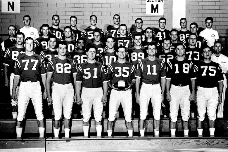 The 1963 Air Force Academy junior varsity football team. Cadet Lance Sijan is number 82 in the front row. (U.S. Air Force photo)
