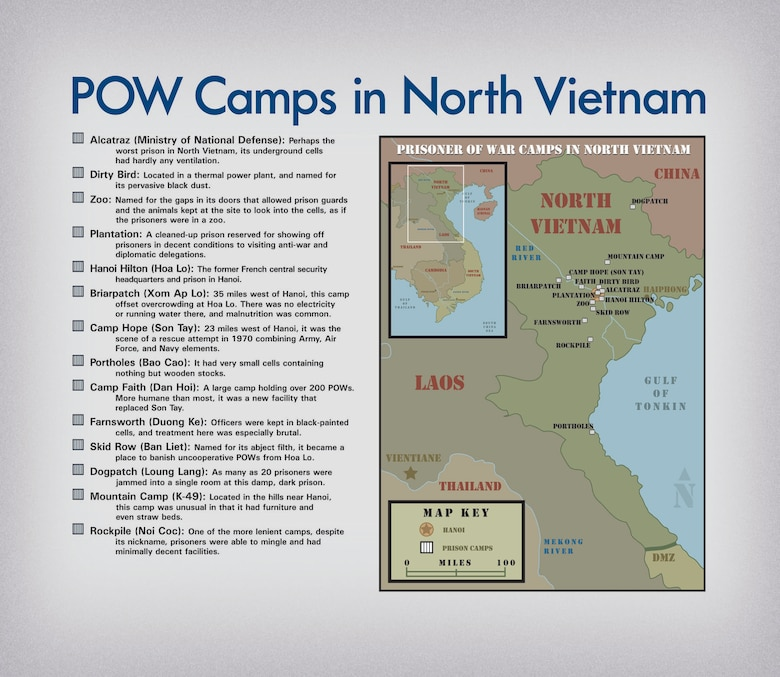 Prison locations in North Vietnam. (U.S. Air Force)