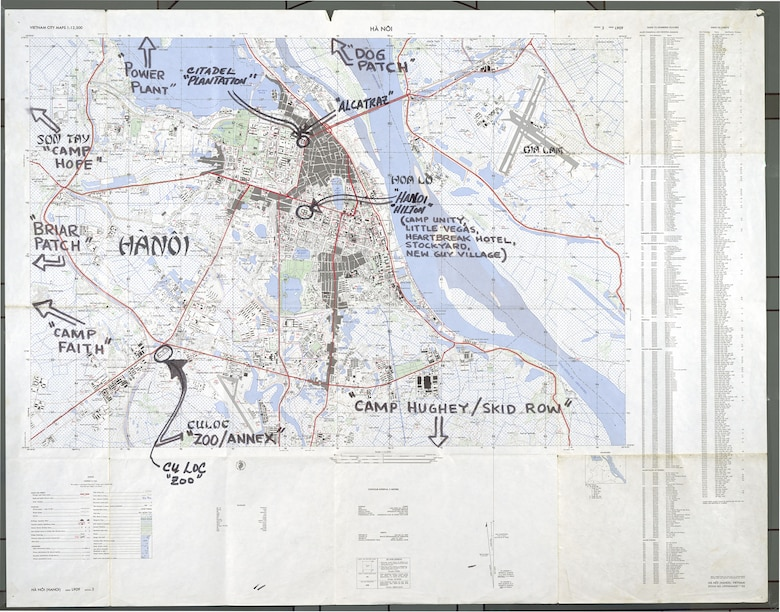 Shortly after the war, ex-POW Mike McGrath annotated this detailed map of Hanoi to show the location of prisons. He did it so he would not forget where the camps were. McGrath also made drawings of his captivity, several of which appear in this exhibit. (U.S. Air Force photo)