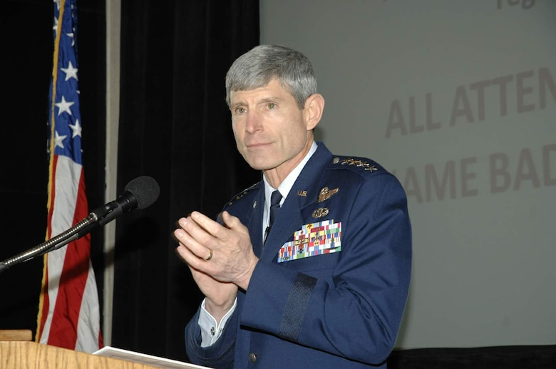 Gen. Norton Schwartz, Air Force chief of staff, speaks to an assembly of some 700 Air Force acquisition professionals and defense industry partners April 21 during DOD Acquisition Insight Days at Sinclair Community College in Dayton, Ohio. The event, organized by officials at Defense Acquisition University - Midwest Region, provided senior leader perspectives, workshops and training focused on delivering war-winning capabilities for joint warfighters.  (U.S. Air Force photo/Al Bright)
