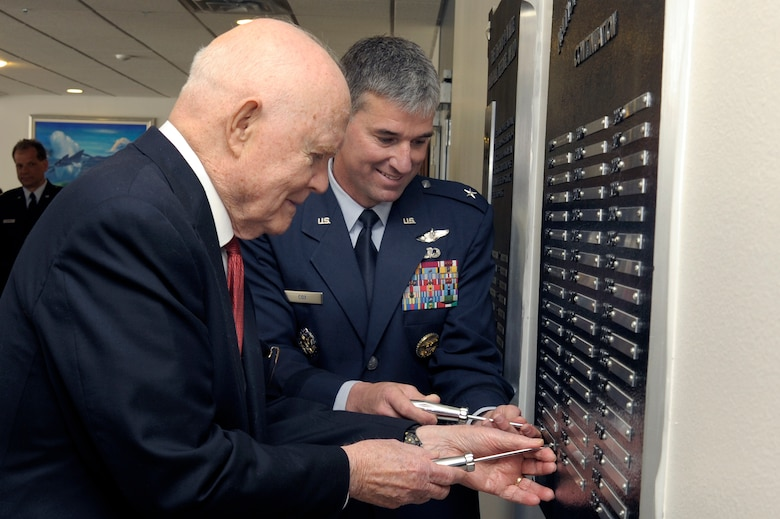 Sen. John Glenn and Commandant of Cadets Brig. Gen Samuel Cox mount the name plate for Senator Glenn April 22 as the recipient of the 2008 Thomas D. White National Defense Award. He was at the Academy for the award presentation.  (U.S. Air Force photo/Mike Kaplan)