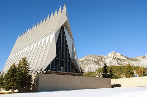 The Cadet Chapel at the U.S. Air Force Academy in Colorado Springs, Colo., is the most distinctive feature on the Academy and hosts approximately 500,000 visitors annually. (U.S. Air Force photo/Staff Sgt. Don Branum)