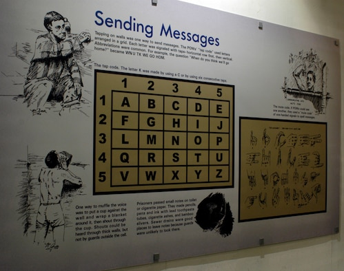 DAYTON, Ohio - Examples of how POWs communicated are shown on this panel in the Return with Honor: American Prisoners of War in Southeast Asia exhibit in the Southeast Asia War Gallery at the National Museum of the U.S. Air Force. (U.S. Air Force photo)