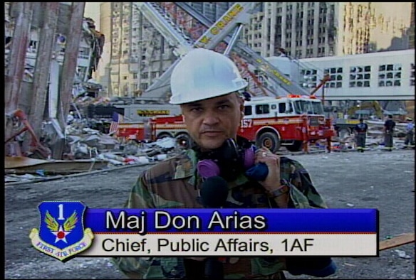Then Maj. Don Arias visits the World Trade Center in New York City a few days after Sept. 11th as part of the 1AF Now broadcast.