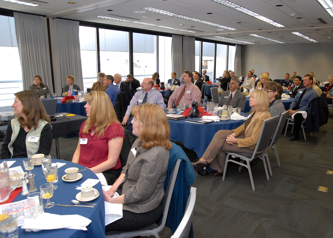 Local civilian employers listen to a message on ESGR support from Congresswoman Cathy McMorris Rodgers.