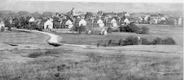 FORT RILEY, c. 1895.  Looking from NW of present day Main Post, this picture shows the housing of Forysth and Sheridan Avenues (note Main Post Chapel has not yet been built).  In the foreground is present day Barry Avenue intersecting with Huebner Road.  St. Mary's Chapel is shown to the right.  In the center back is the present day US Cavalry Museum.