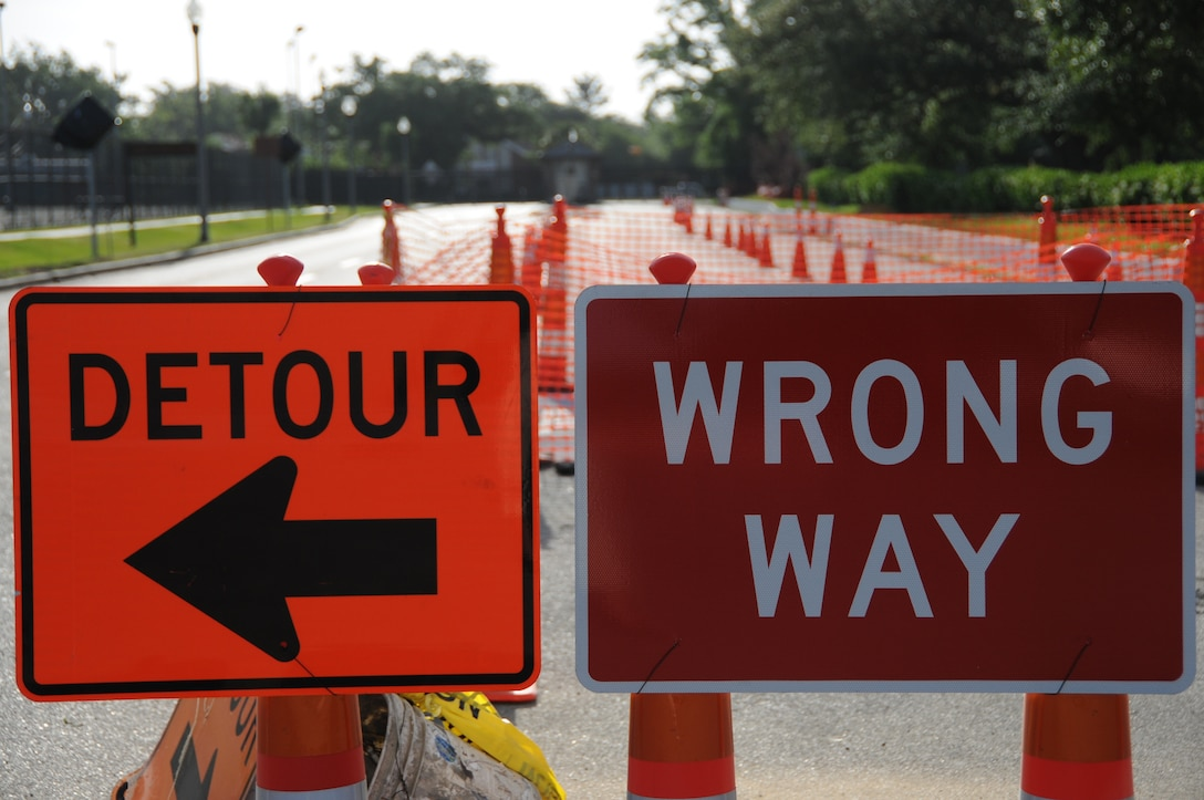 The Meadows Avenue Gate is closed through May 15 while construction continues to upgrade denial barriers.  The Judge Sekul Avenue Gate is open 5:30 a.m. to 6 p.m. work days for inbound and outbound traffic.  For more information, call 376-6623.  (U.S. Air Force photo by Kemberly Groue)